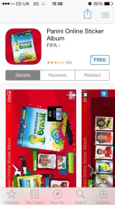 Picture of Panini World Cup sticker album app in the iPhone app store